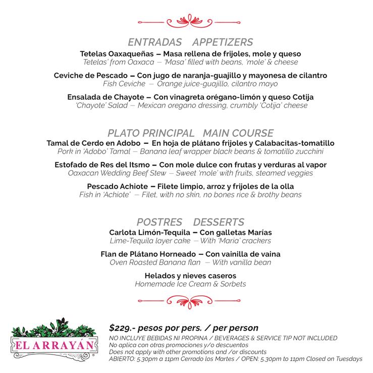 Menú de El Arrayán en Restaurant Week 2016